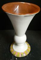 Vintage Large Mackenzie Childs White & Brown TerraCotta Vase Striped Base Excell