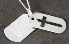 925 solid Sterling Silver lords prayer dogtag cross pendant & chain free box