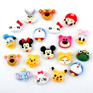 20pc Assorted Resin Cartoon Animals Head Flatback Buttons for Crafts Decorations