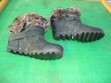 Sorel  Joan Of Arctic Black Leather Faux Fur Wedge Ankle Bootie Women SZ# 8
