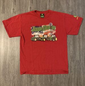 Childs John Deere T Shirt Red Youth Childrens Medium Tractor Farm Green
