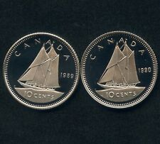 1989 & 1990 Canada Proof Frosted 10 Cent Coins