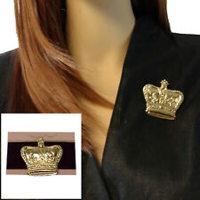 Rennisance Gold Tone Brooch Large Big Crown Royal Regal