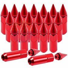 20 Pcs Red 1/2-20 60mm Extended Forged Aluminum Tuner Racing Lug Nut For Mustang