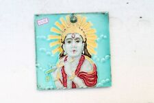 Antique Old Hindu God Krishna Engrave Majolica Ceramic Tile Made In Japan NH3318