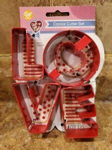 Wilton LOVE  Metal 4 Piece Cookie Cutters Valentine's Day Teacher Supply Party