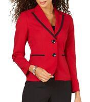Le Suit Women's Pant Suit Set Red Size 4 Peak-Lapel Two-Button $200 #547