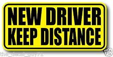 NEW DRIVER KEEP DISTANCE Car Decal Bumper Sticker High Quality Diamond Gloss