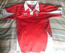 Medium Youth Size Under Armour WRU Wales Calon Home Red  Rugby Shirt, Home, Exc