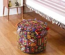 Indian Patchwork Round Ottomn Footstool Embroidery Vintage Cotton Fabric Cover