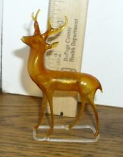 Antique German Gold Glass Bimini Reindeer on Stand Christmas Ornament