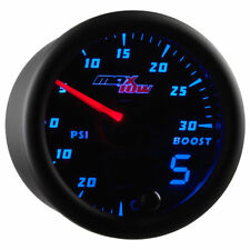 MaxTow 52mm Black & Blue Double Vision 30PSI Turbo Boost/Vacuum Gauge MT-BDV01