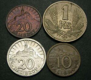 SLOVAKIA 10, 20 Halierov & 1 Koruna 1942 - 4 Coins. - 2533MP