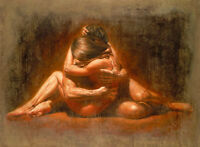 Hand painted Oil painting portrait young lovers warm kiss handpainted in oil art