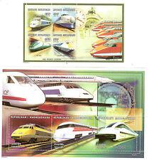 TRAINS LOCOMOTIVES TRANSPORT TGV CENTRAFRIQUE 1 BLOC + 3 TIMBRES