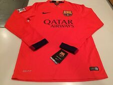 Team FC Barcelona Authentic Long Sleeves Jersey Orange Soccer Large Football