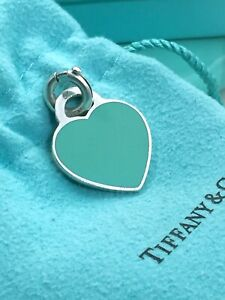 """Return To Tiffany & Co. Silver Large Enamel Heart Charm 1"""" w Spring Ring Clasp"""