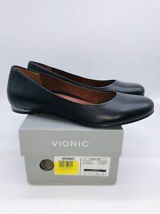 Vionic Women's Hannah Leather Ballet Flat - Black US 7M / EUR 38