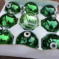 "Emerald Green Vintage Decorative Glass Christmas Tree Ornaments 2.5"" Lot of 12"