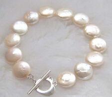100% Genuine White Button Coin Pearl 18KWGP Love Heart Clasp Bangle Bracelet