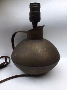 Vtg Nekrassoff Hammered Copper Lamp-Arts & Crafts Style