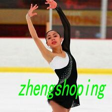 Ice Skating Dress.Competition Black&White Figure Skating Dress Leotard 8896
