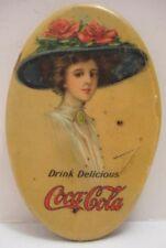 Pretty Antique Celluloid Tin COCA-COLA Advertising Pocket Mirror 1900 RARE as is