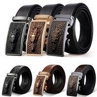 Fashion Men Genuine Leather Automatic Buckle Waistband Belts Ratchet Waist Strap