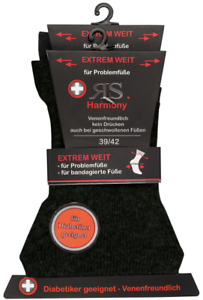 RS. Harmony 31129 Gesundheitssocken EXTRA WEIT ohne Gummi SCHWARZ 39-42, 43-46