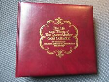 More details for the life & times of the queen mother - 22ct gold collection of 35 stamps