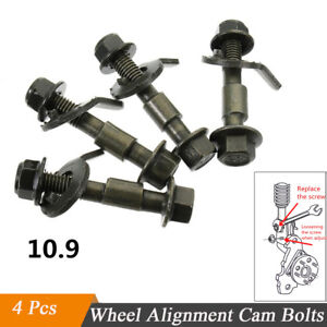 4Pcs Car Wheel Alignment Camber Bolt Screw Adjustable Camber Bolts Steel 10.9