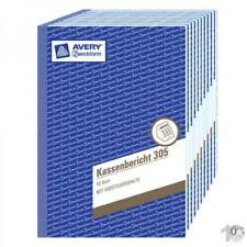 10 Stück AVERY Zweckform Formularbuch Kassenbericht A5, 50 Blatt, 305