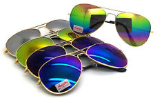 Wholesale Lots 12 Pairs Unisex Aviator Sunglasses With Colorful Mirrored Lens