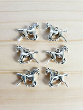 6 x Pferde Anhänger für Ketten Glücksbringer Schmuck Basteln Deko Charms Silber