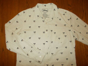 DISNEY MICKEY MOUSE LONG SLEEVE IVORY BUTTON SHIRT MENS MEDIUM EXCELLENT COND.