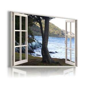 AUSTRALIA OLD TREE MOUNTAINS RIVER 3D Window View Canvas Wall Art Print WN72