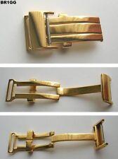 - Edelstahlfaltschließe Gelbgoldvergoldet kompatibel nur mit Breitlinguhrenband