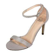 JAIDEN! Women's Ankle Strap Stiletto High Heel Sandals  Silver Snake Leatherette