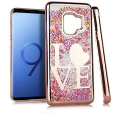 For Samsung Galaxy S9+ PLUS - Rose Gold Love Pink Glitter Star Liquid Case Cover