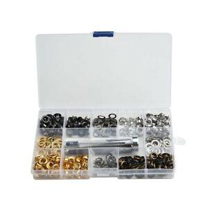 200x/Set Verschiedene Metall Ösen W / Installation Werkzeugset Geeignet Neu