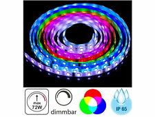 (4,98 EUR/m) LED RGB Lichtband 5m 72W IP65 dimmbar - Aussen Strip 300x 5050 Chip