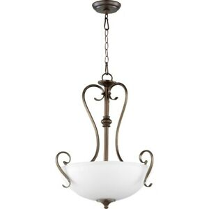Quorum Powell 3 Light 19' Pendant, Oiled Bronze/Satin Opal - 8108-3-86