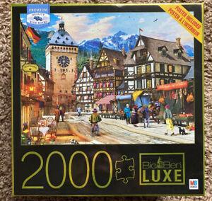 "Milton Bradly Big Ben Luxe 2000 Pc Puzzle DOMINIC DAVISON ""German Market Town"""