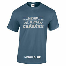 Caravan Never Underestimate An Old Man With a T SHIRT Silver text S to 5XL