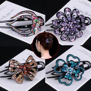 Women Rhinestone Flower Duckbill Clip Girl Retro Crystal Beads Ponytail Headwear