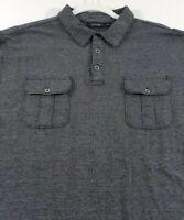 Apt 9 Men's Short Sleeve Polo Shirt XXL 2XL Black White Two Pockets Casual
