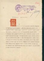 Czechoslovakia Sc unlisted  Revenue Stamp 1947 on complet document  VF