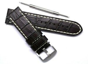 24mm Brown Leather Contrast Stitch Croco Watch Band For Invicta 24 or Big Watch