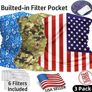 3 PACK Neck Gaiter with FILTER Bandana Breathable Scarf Headband for ADULT & KID