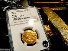 "MEXICO 1714 4 ESCUDOS ""1715 PLATE FLEET SHIPWRECK"" NGC 61 FULL CROWN! GOLD COIN"